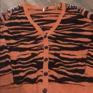 Topshop tiger print cardigan w/ stud details